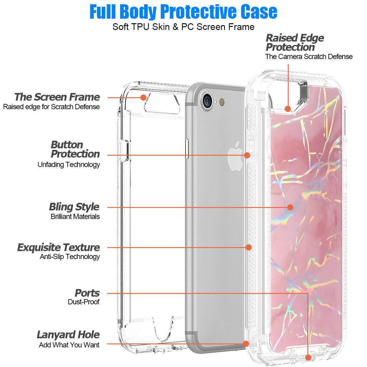iPhone 6/6S Case, iPhone 7 Case, iPhone 8 Case, SEYMAC Shiny Marble Design Shock-Absorption, Anti-Scratch Bumper Cover for iPhone 6/iPhone 7/iPhone 8 [Pink]