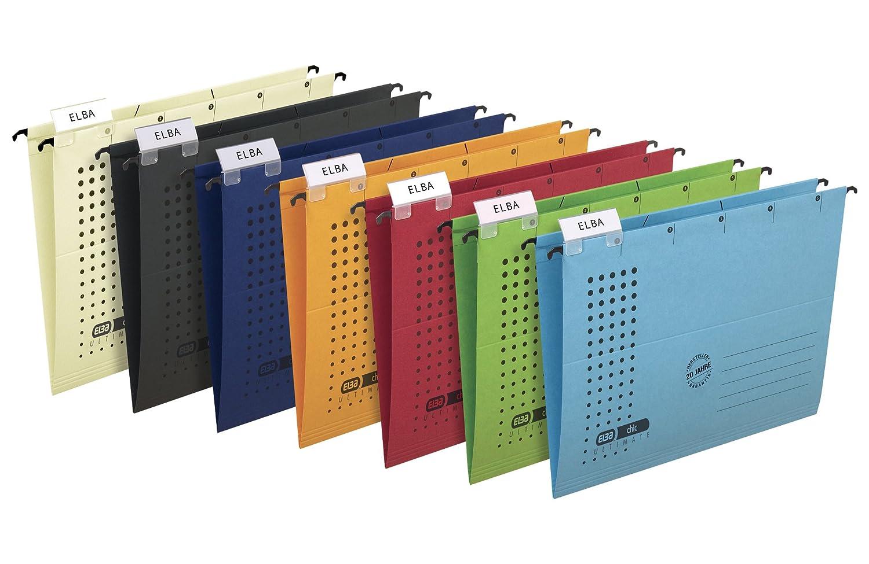 ELBA 100560149 H/ängetasche chic ULTIMATE 5er Pack aus Recycling-Karton f/ür DIN A4 mit Leinenfr/öschen in blau ideal f/ür die lose Blatt-Ablage im B/üro und der Beh/örde