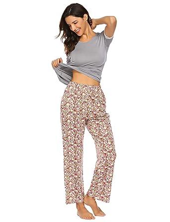 detailed look da98e 5efc6 Damen Schlafanzug Sommer Pyjama Set Baumwolle Jersey Frauen Nachtwäsche  Zweiteilig Hausanzug kurz Schlafshirt mit lang Hosen