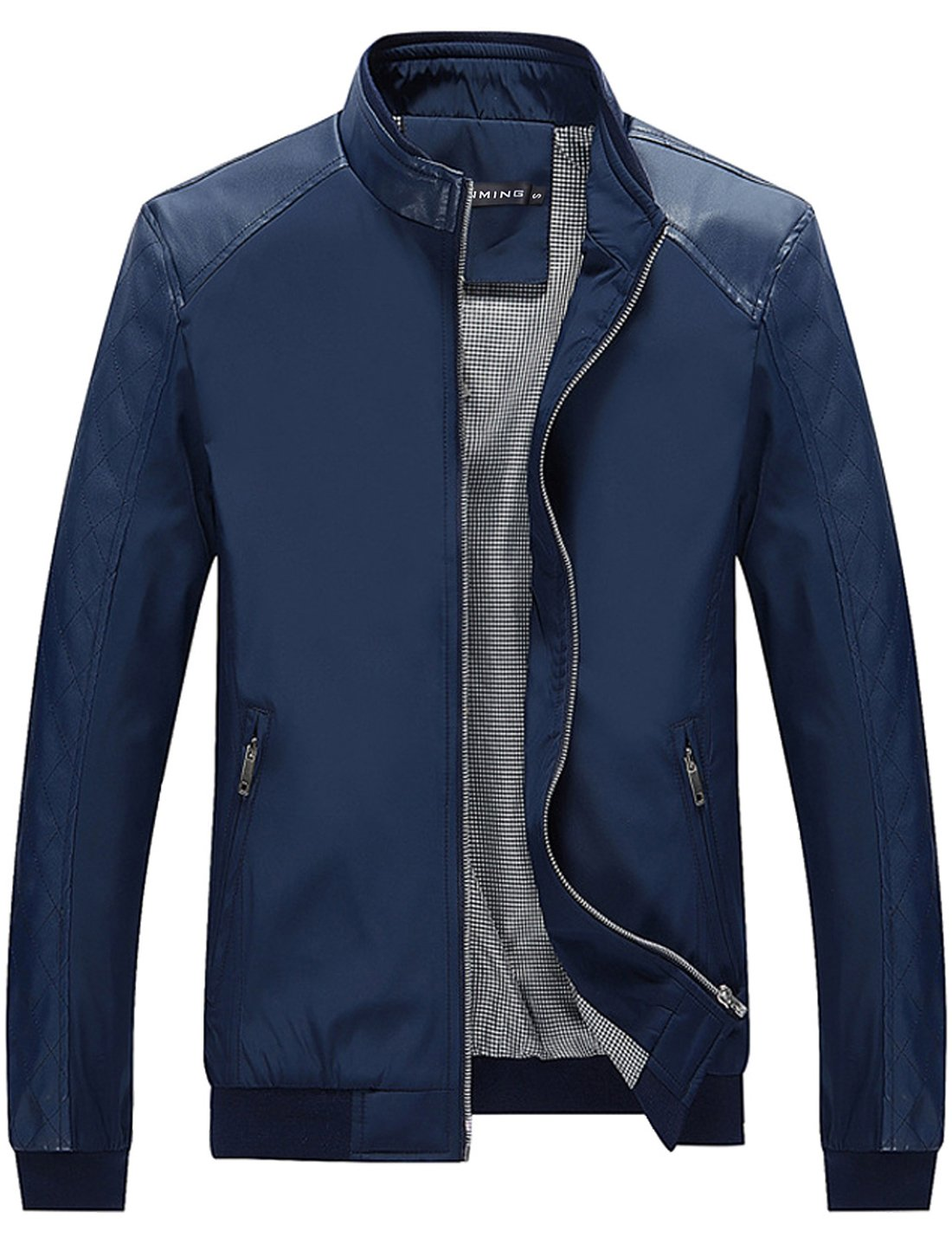 Tanming Men's Color Block Slim Casual Jacket (XX-Large, Blue)