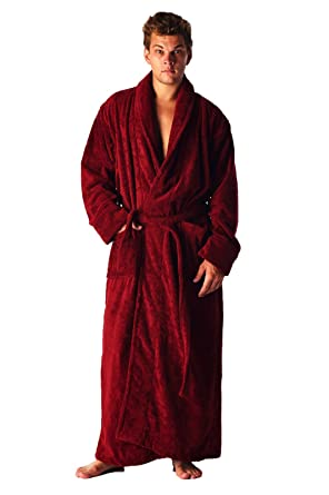 07a1bcc17b High Style Men Women 100% Turkish Terry Cotton Full Ankle Length Shawl  Collar Robe Bathrobe Dressing Gown (Burgundy