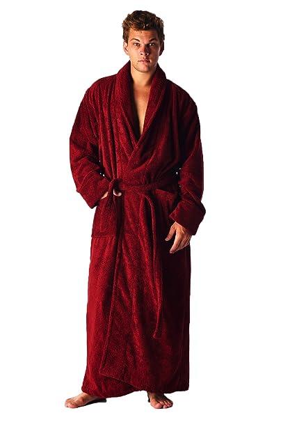 Elegante bata/albornoz con cuello esmoquin, largo al tobillo, para hombre y mujer, 100% de algodón turco Rojo granate Large: Amazon.es: Ropa y accesorios