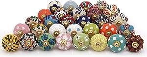 Countryside Multicolor Assorted Dresser Knobs - Set of 30 Pcs - Ceramic Drawer Pull Handle Kitchen Cupboard Wardrobe Knob Boho Room Decorative Furniture Hardware