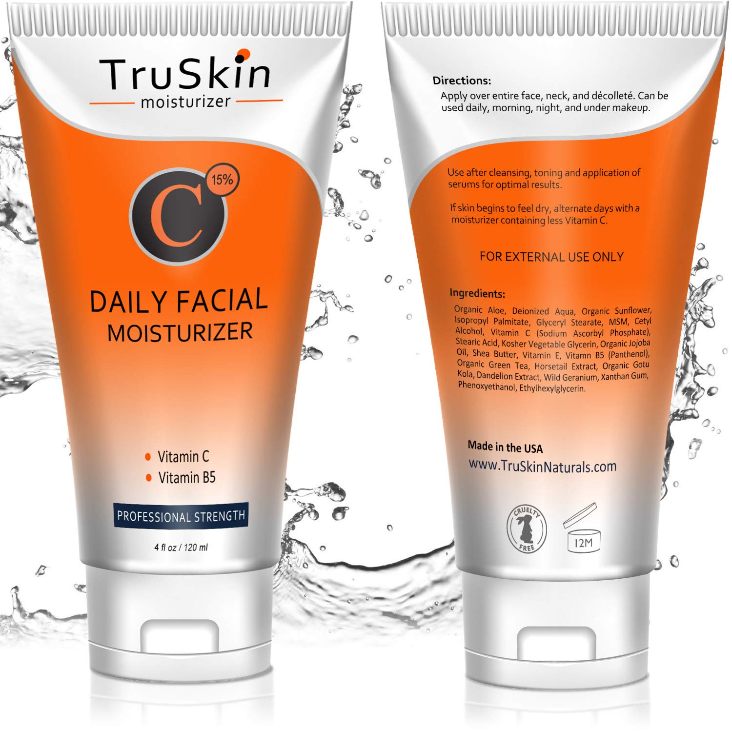 BEST Vitamin C Moisturizer Cream for Face - For Wrinkles, Age Spots, Skin Tone, Firming, and Dark Circles. 4 Fl. Oz by TruSkin Naturals (Image #2)