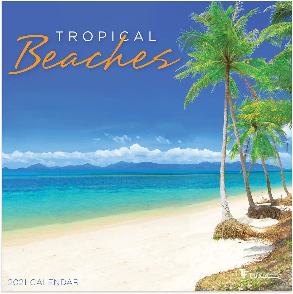 """TF PUBLISHING 2021 Tropical Beaches Mini Monthly Wall Calendar - Scenic Photographs with Contacts and Notes Space - Home or Office Planning and Organization in Compact Spaces-Premium Gloss Paper 7""""x7"""""""
