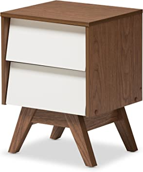 Amazon Com Baxton Studio Nightstands 2 Drawer Storage Nightstand White Walnut Brown Furniture Decor