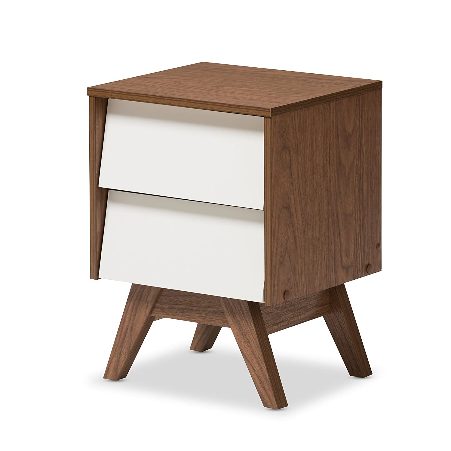 Baxton Studio Herve Mid-Century Modern Wood 2-Drawer Storage Nightstand, White/Walnut Brown Wholesale Interiors 424-7493-AMZ