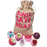 Bomb Cosmetics Santa Says Relax Handmade Hessian Bath Blaster Gift Pack [7 x 160g]
