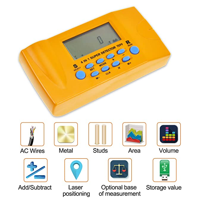 ALLOSUN 4 in 1 Ultrasonic Distance meter/Wood Stud Finder/Metal Detector/AC Wires Tracker - - Amazon.com