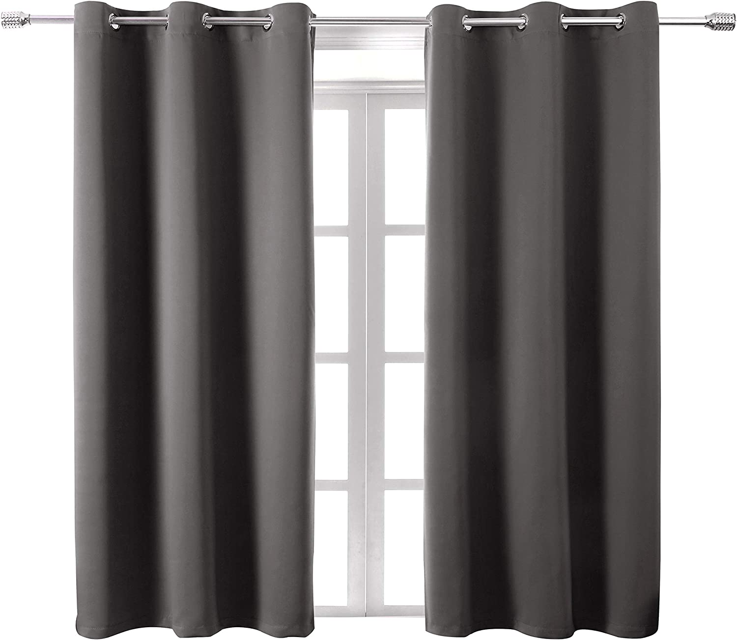 WONTEX Blackout Curtains Room Darkening Thermal Insulated with Grommet Window Curtain for Living Room, 42 x 54 inch, Grey, 2 Panels