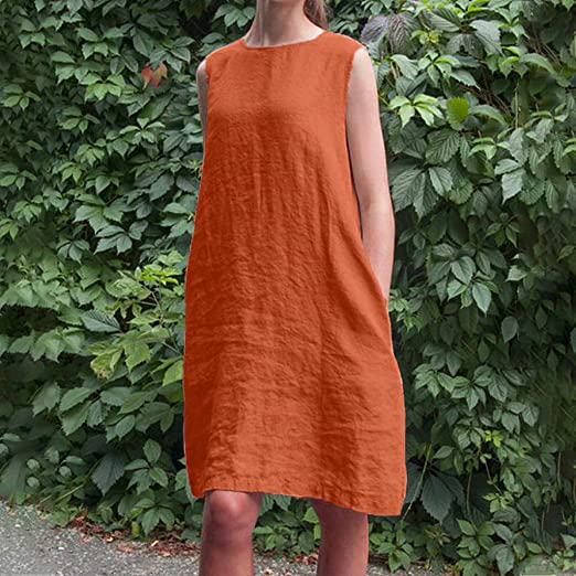 0c84d9e69b Amazon.com: ☀️EDC Women's Crew Neck Solid Sleeveless Beach Dresses Daily  Casual Plain Cotton Comfortable Japanese Style Dress: Clothing