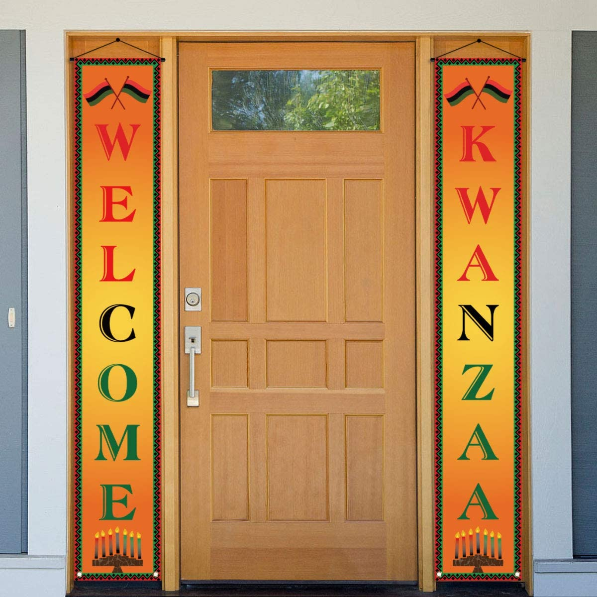 Kwanzaa Decoration,Happy Kwanzaa Banner,Kwanzaa Welcome Porch Sign,African Heritage Holiday Party Celebration Decor Bunting for Home Office