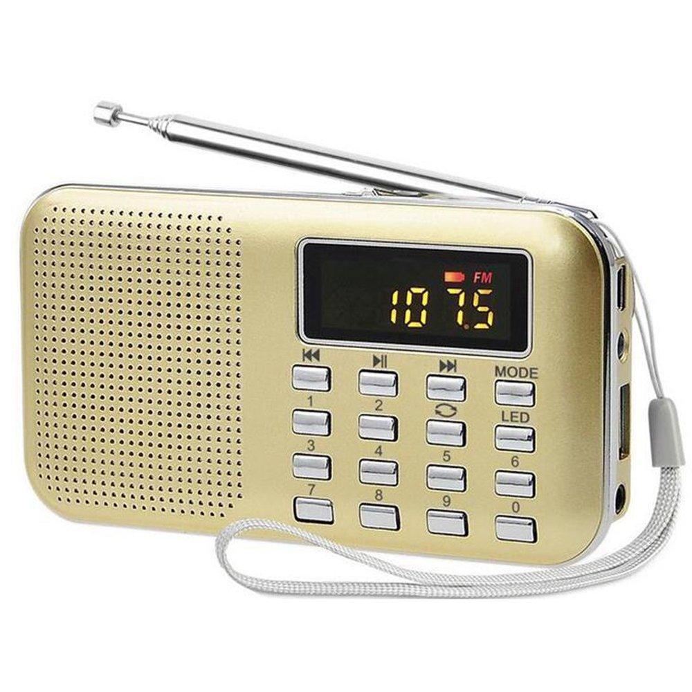 iMinker Mini Portable Digital AM/FM Radio Media Speaker MP3 Music Player Support TF Card/USB Port with LED Screen Display, Emergency Flashlight, 3.5mm Earphone Jack (Gold)