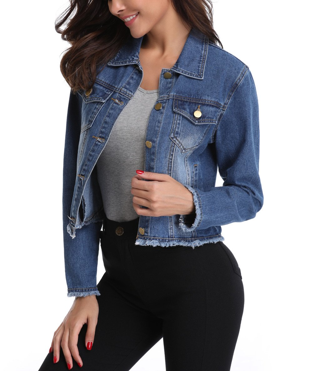 MISS MOLY Women's Button Up Turn Down Collar Frayed Denim Washed Jacket w 2 Chest Flap Pockets M