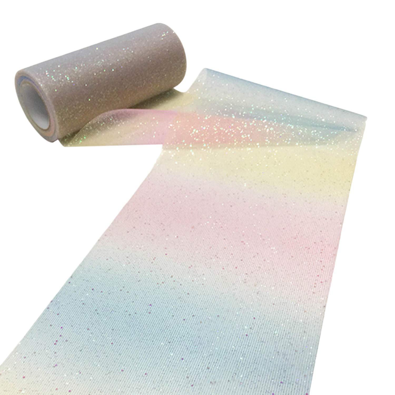 lazo Rollo de cinta de tul con purpurina de grado arco iris de 10 yardas para decoraci/ón de boda fiesta color claro Dark Color regalo de Navidad falda tut/ú