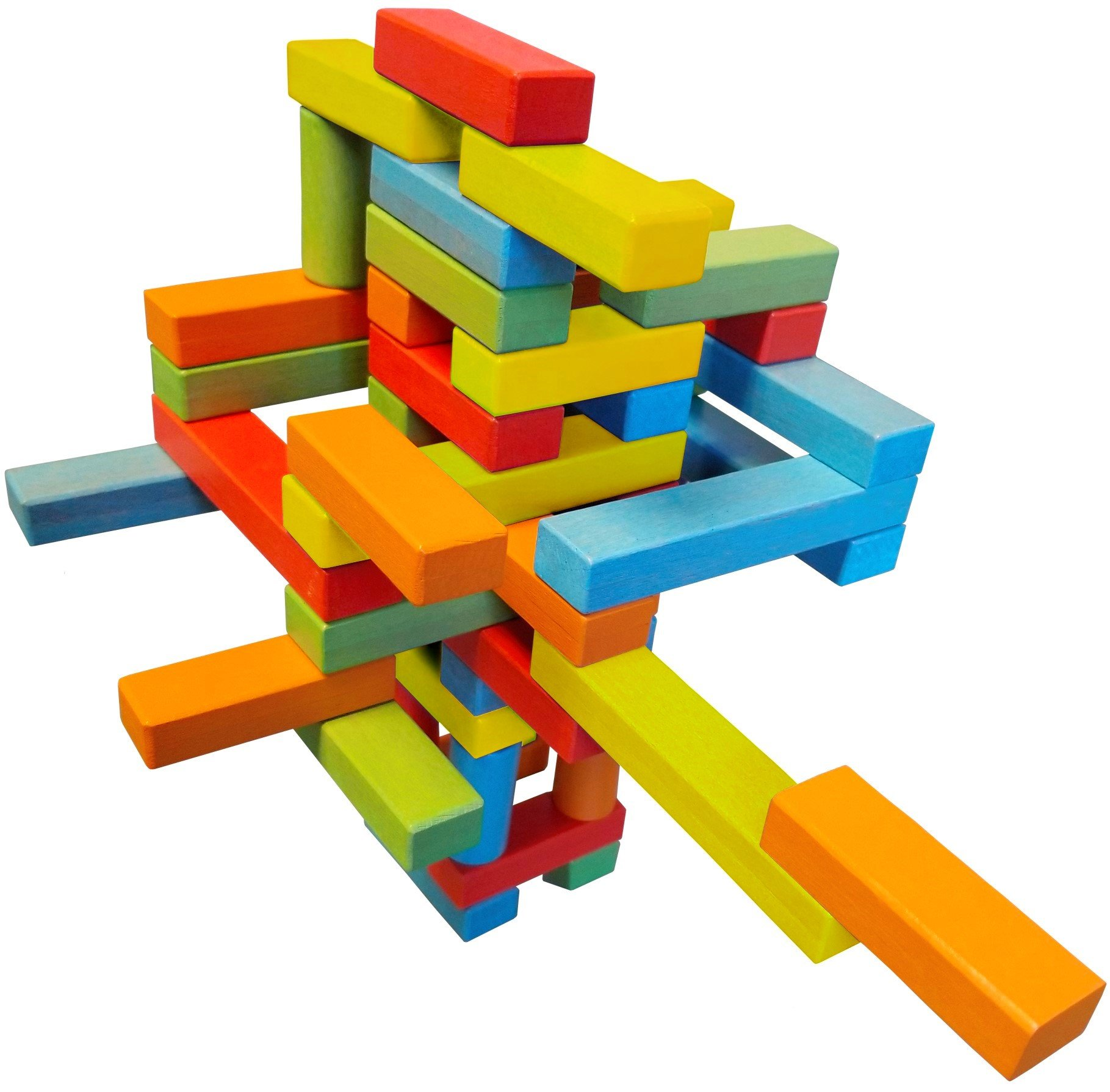 Wooden Bricks 45 Magnetic Building blocks, magnetic building set consisting of 25 short blocks, 15 long blocks and 5 risers, and a permanent canvas storage bag.
