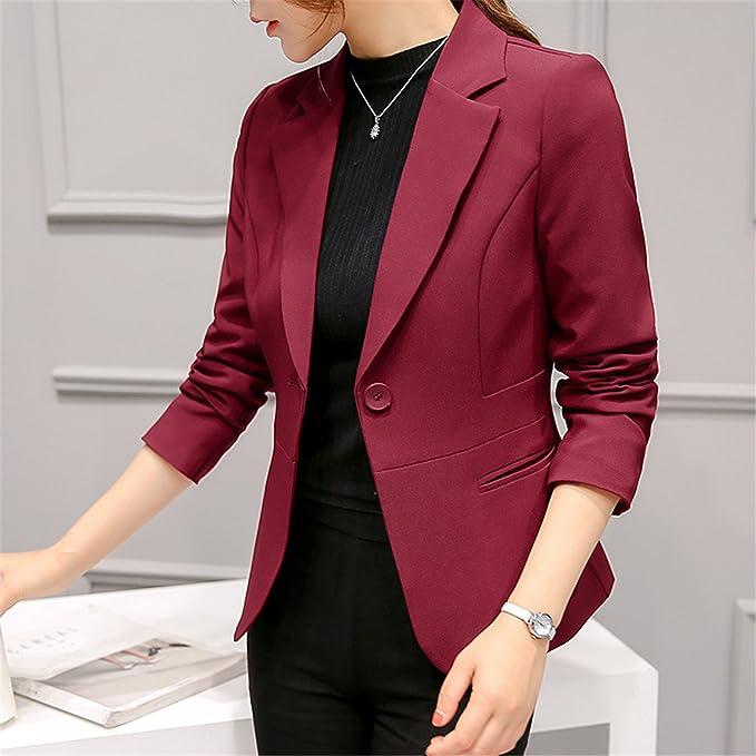 Beautface Makeup Women Autumn Winter Formal Jacket Rosa Female Claret Women Suit Office Plus Size 297RX at Amazon Womens Clothing store: