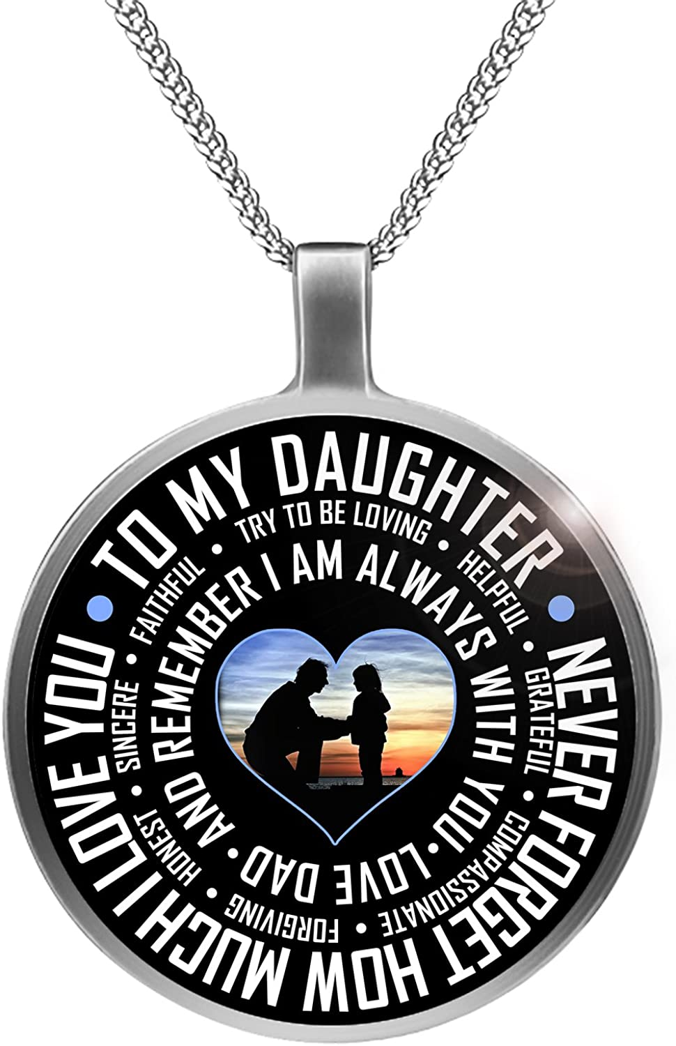 by Mike Apparel Gifts for Daughter from Father Dad To My Daughter Necklace Father Daughter Necklace
