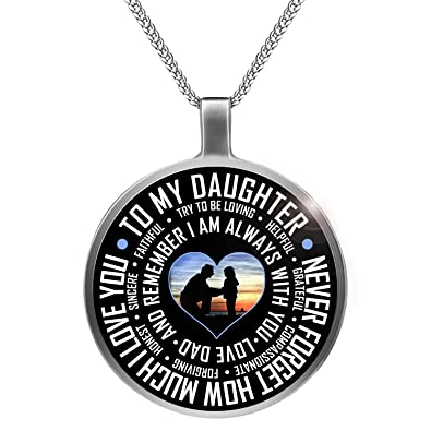 Amazon father daughter necklace to my daughter never forget father daughter necklace to my daughter never forget how much i love you necklace aloadofball Gallery