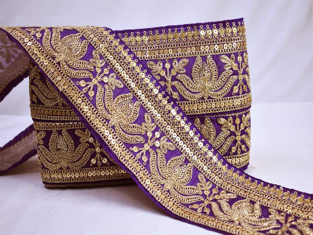1 Yard Latest Indian Wide Sari Lace Trim with Zari N Sequin Embroidery Boarder
