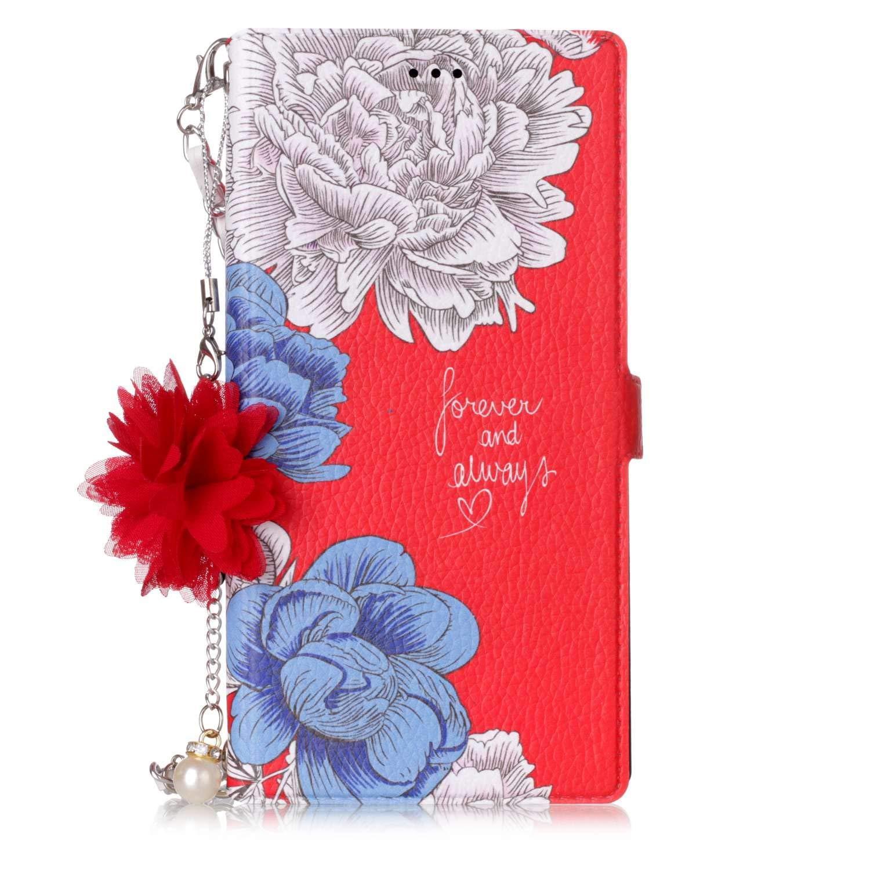Ekakashop Coque iPhone 6 Plus en Cuir,Housse de Protection pour iPhone 6s Plus, Coloré e Chrysanthè me Rouge Rabat Flip Smart Cover Fleur de Perle + Chaî ne Magné tique pour iPhone 6 Plus / 6s Plus kaka054167