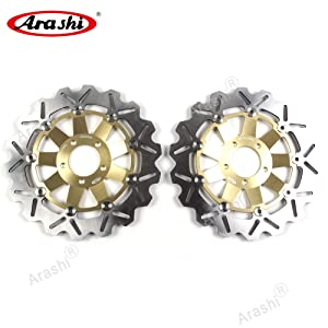 Arashi Front Brake Disc Rotor for Kawasaki ZZR600 1990-2006 / Ninja ZX6R 2002 / Z750 2004-2006 / Z750S 2005 2006 Motorcycle Accessories ZZR 600 ZX-6R Gold 1995 1996 1997 1998 1999 2000 2001 2003