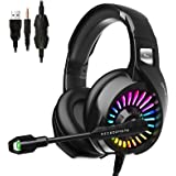 ZIUMIER Gaming Headset with Microphone, PS4 Headset Xbox One Headset with RGB Light, Wired PC Headset with 7.1 Stereo Surroun