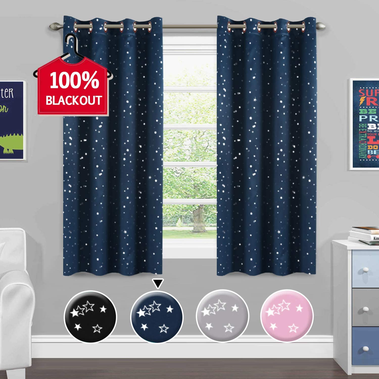 H.VERSAILTEX Blackout Curtains Kids Room Thermal Insulated Twinkle Stars Printed Curtain Draperies for Boys Girls, Sleep-Enhancing Magic Grommet Drapes, 2 Panels, Each 52x63-Inch, Navy