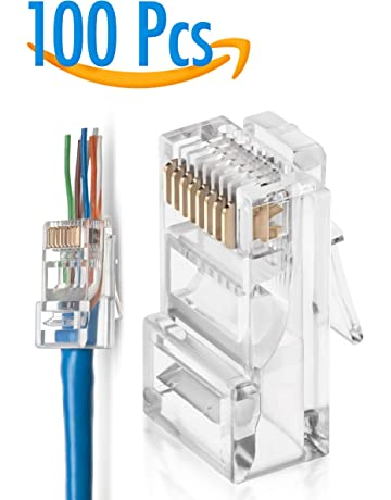 gtz rj45 cat5/5e pass through connectors pack of 100 | ez crimp connector  network