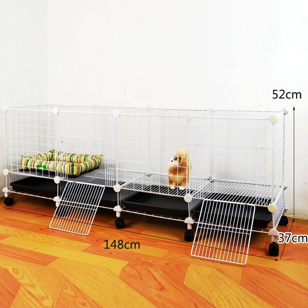 折り畳み式の金属製犬クレート,小型犬猫ケージ ウサギのケージを二層 スリーピース ペット フェンス ホイールとトレイの鉄ケージ ステンレス犬ケージ箱-Q B07CVTHPBV 23193 Q Q