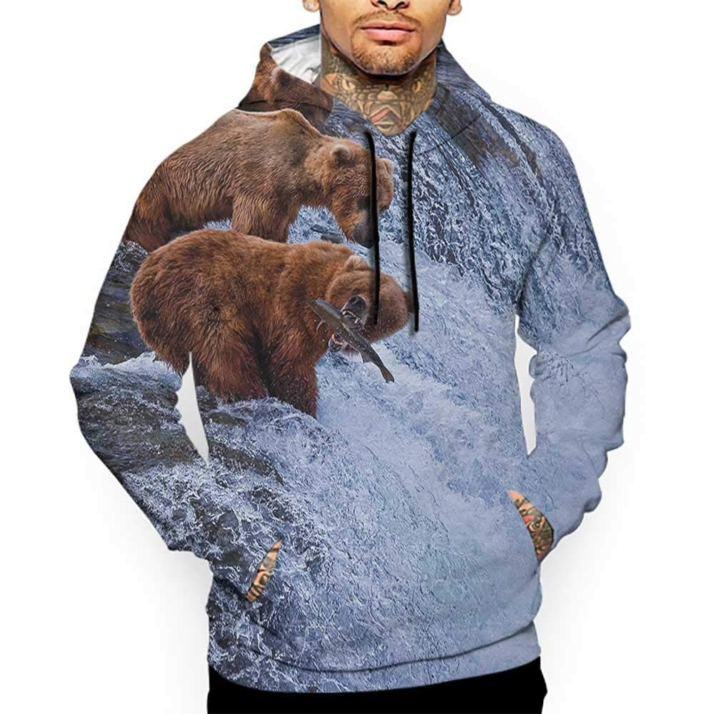 Hoodies Sweatshirt/Men 3D Print Africa,Grizzly Bears Fishing in The River Waterfalls Cascade in Alaska Nature Camp View,Brown White Sweatshirts for Men Prime