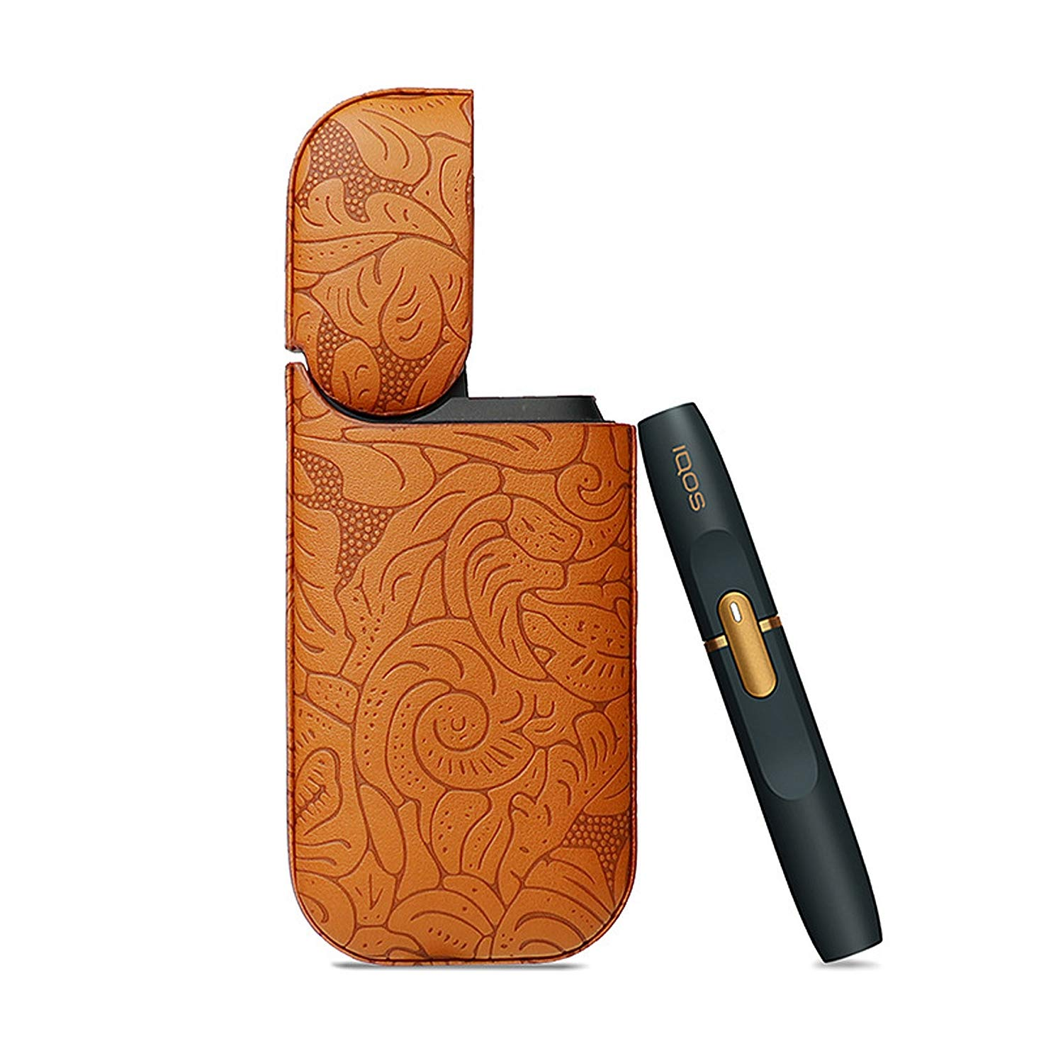 Relubby Leather Cover for IQOS, Flower Print Cigarette Storage Bag for 2.4Plus, Men's Anti-Slip Frosted Leather Electronic Smoke Sets Shell,Orange