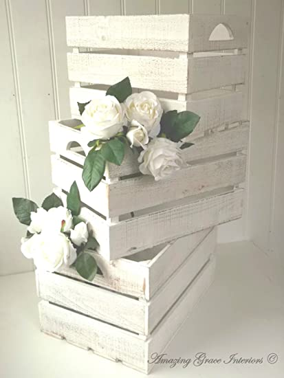 3 Vintage estilo rústico de madera cajas de almacenamiento cajas de boda Tarjeta buzón de correos