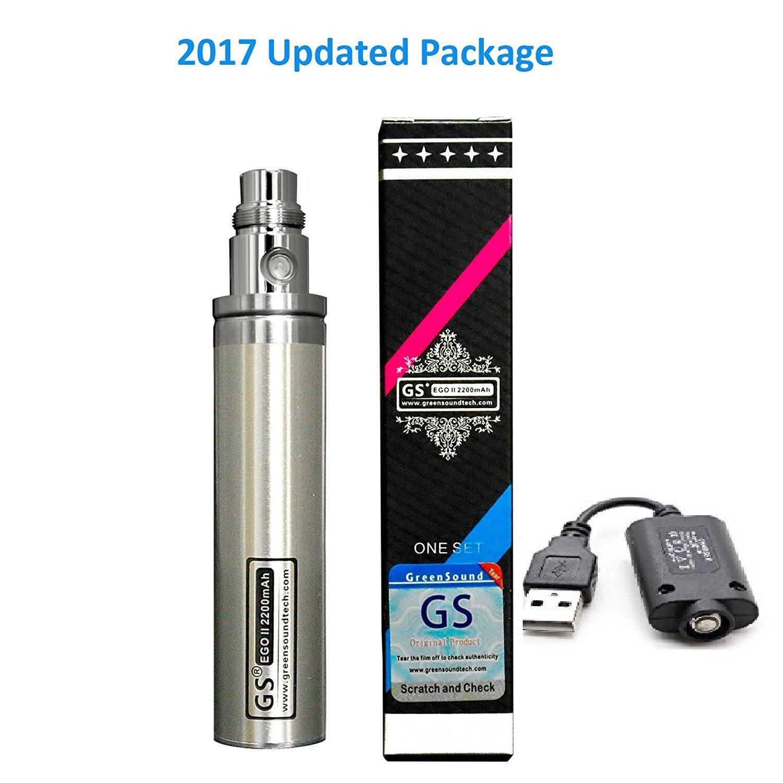 GS eGo II 2200mAh E-Cigarette e Cig Indicador LED de 3 colores Batería y cargador USB, sin nicotina y tabaco (plata)