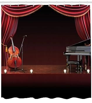 Teatro musical decoración para el hogar cortina de ducha por Ambesonne, Orquesta Symphony tema etapa