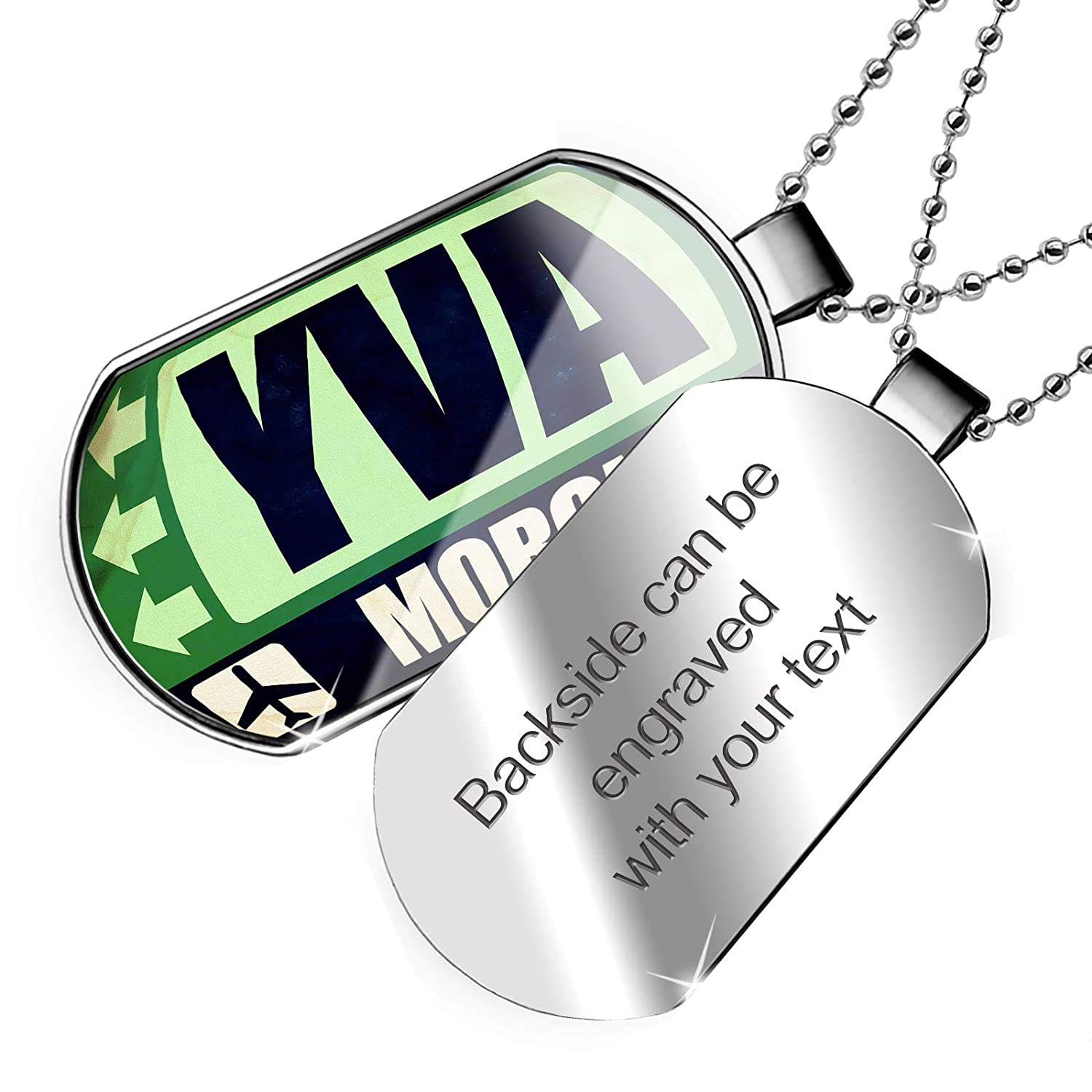 NEONBLOND Personalized Name Engraved Airportcode YVA Moroni Dogtag Necklace