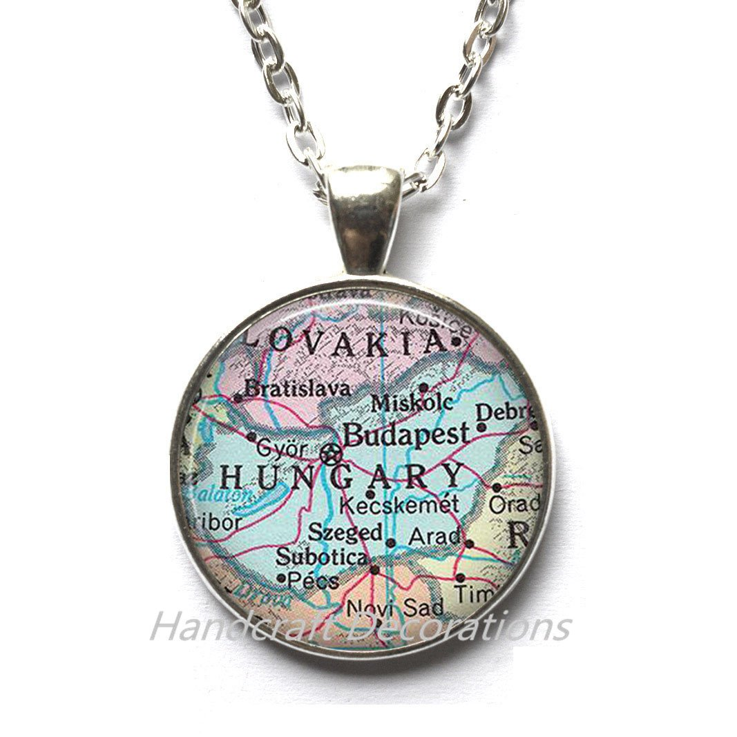 Charming Necklace,Hungary map Necklace, Hungary map Pendant, Hungary Necklace, Hungary Pendant Budapest map jewelry,A0116