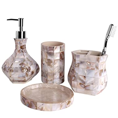 Creative Scents Milano Bath Ensemble, 4 Piece Bathroom Accessories Set, Mother Pearl Milano Collection Bath Set Features Soap Dispenser, Toothbrush Holder, Tumbler, Soap Dish - Natural Mosaic Capiz
