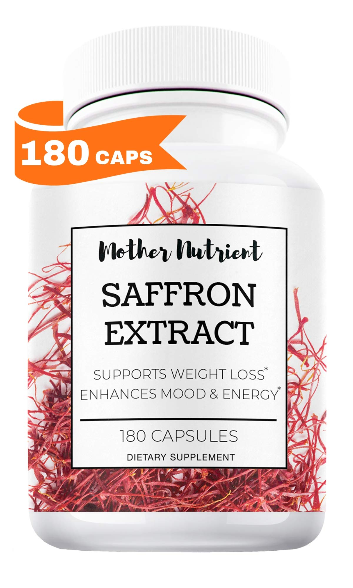Saffron Supplement with 8825 mg of Saffron Extract, Crocus Sativus. 180 Capsules. Natural Appetite Suppressant for Women, Weight Loss Support, Mood Boost, Eye Health, and May Prevent Macular Degenerat by Mother Nutrient