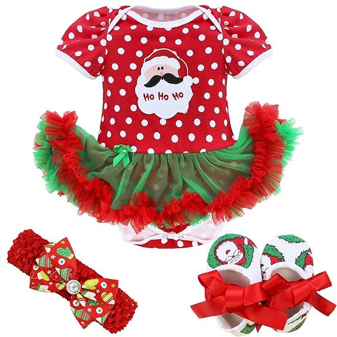 IEFIEL Vestidos de Princesa Carnaval Fiesta Estilo de Pelele Conjunto Infantil Invierno para Bebé Niña Recién Nacidos Papá Noel Lunares 6-9 Meses: ...