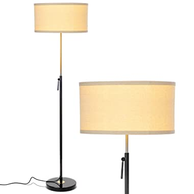 Brightech Telescope- Modern LED Floor Lamp for Living Rooms & Offices – Height Adjustable Pole, Standing Light For Reading - Tall, Black & Antique Brass/Gold Lamp - with LED Bulb