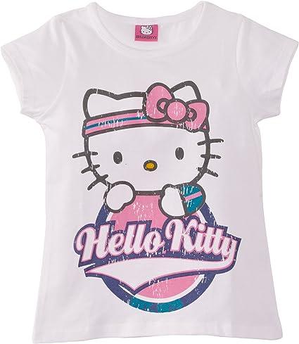 Hello Kitty Jogger Print - Camiseta con Estampado para niña, Talla 7 años (7-8 años), Color Blanco: Amazon.es: Ropa y accesorios
