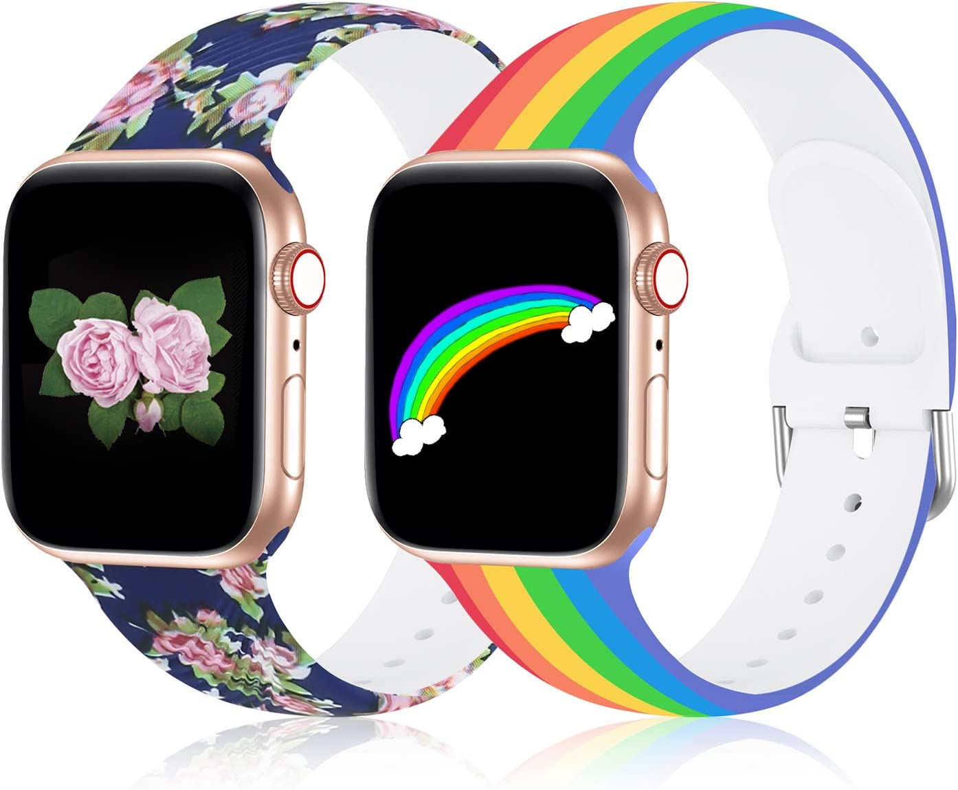 Compatible with Apple Watch Band 38mm 40mm Series 3 Series 5, Silicone Floral Pattern iWatch Bands 38mm 40mm Womens Compatible for iWatch SE Series 6 5 4 3 2 1, Rainbow Band for Apple Watch
