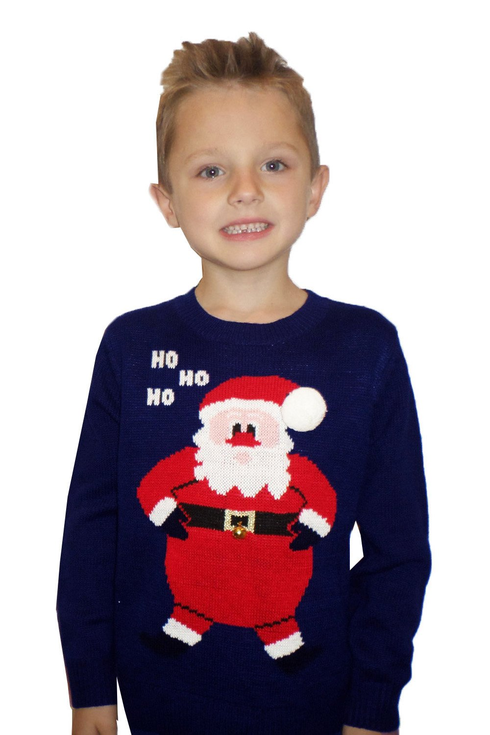 Boys Girls 3D Novelty Knitted Crew Neck Christmas Jumper Visage