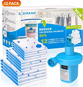 Vacuum Storage Bags with Electric Air Pump, 12 Pack (4 Jumbo, 4 Large, 4 Medium) Reusable Vacuum Compression Space Saving Bag for Clothes, Mattress, Blanket, Duvets, Pillows, Comforters, Quilt, Travel