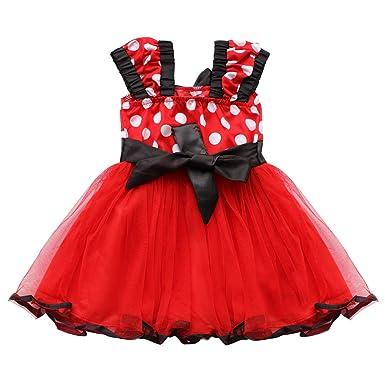 0 Mois Robe Soirée Costume Rouge Tutu De Pois À Iefiel 9 Bébé Fille O7qnvx