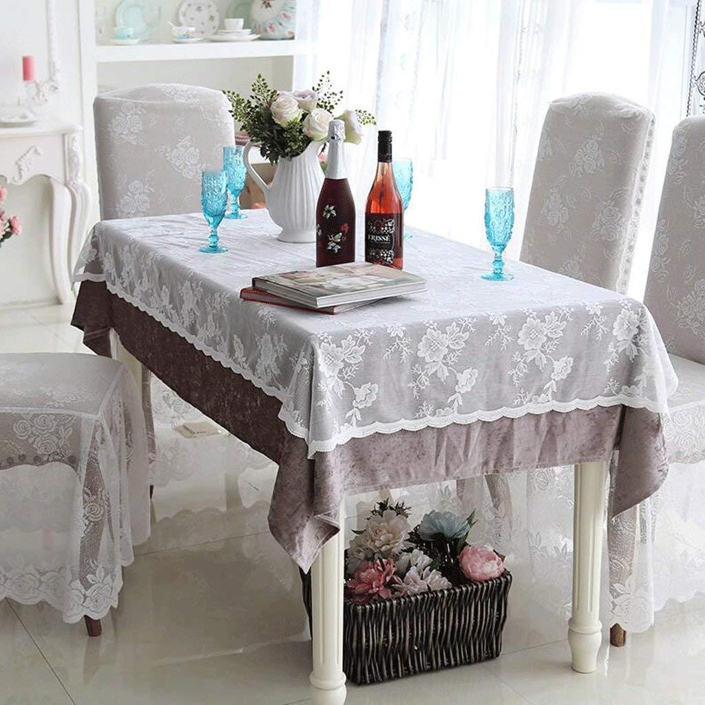 Hanpiaotech テーブルクロスロマンチックなレース。二重層のテーブルクロスの装飾 (Color : Brown, サイズ : 150*220cm) 150*220cm Brown B07S9PMFD4