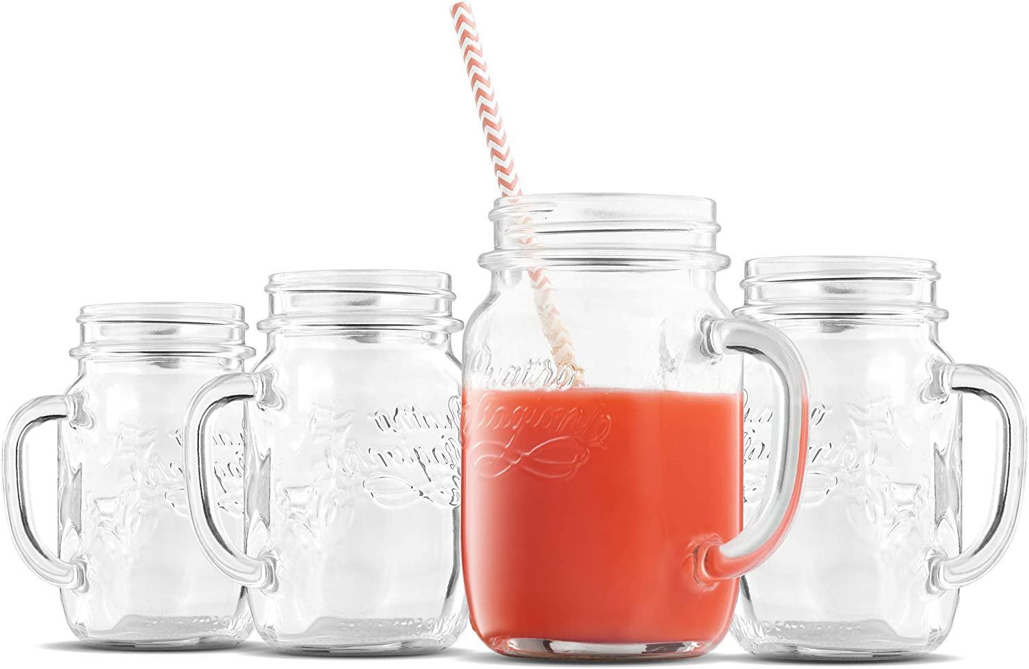 Bormioli Rocco Quattro Stagioni Mason Jar with handle 14 Ounce (4 Pack) Old Fashioned Drinking Glasses for Home Bar, Parties, Cocktails, Juice, Water, and Everyday Drinking Glasses (Lids Not Included)