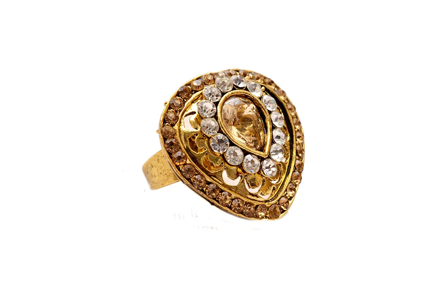 Indian Traditional Ethnic Jewelry Gold Tone Designer CZ Adjustable Ring Jewelry