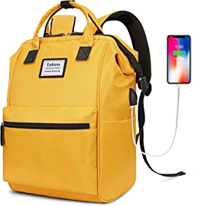 BRINCH Laptop Backpack 15.6 Inch Wide Open Computer Laptop Bag College Rucksack Water Resistant Business Travel Backpack Multipurpose Casual Daypack with USB Charging Port for Women Men,Yellow